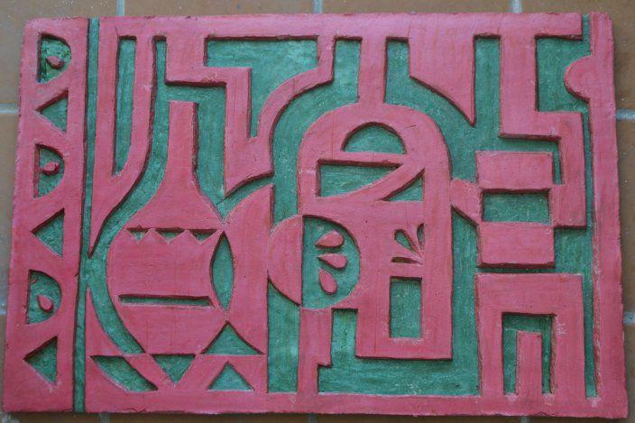 сграффито, стилизованный натюрморт, зелёный, резьба по штукатурке