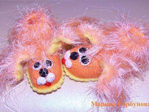 Вязаные пинетки для новорождённых Собачки Персики | Ярмарка Мастеров - ручная работа, handmade