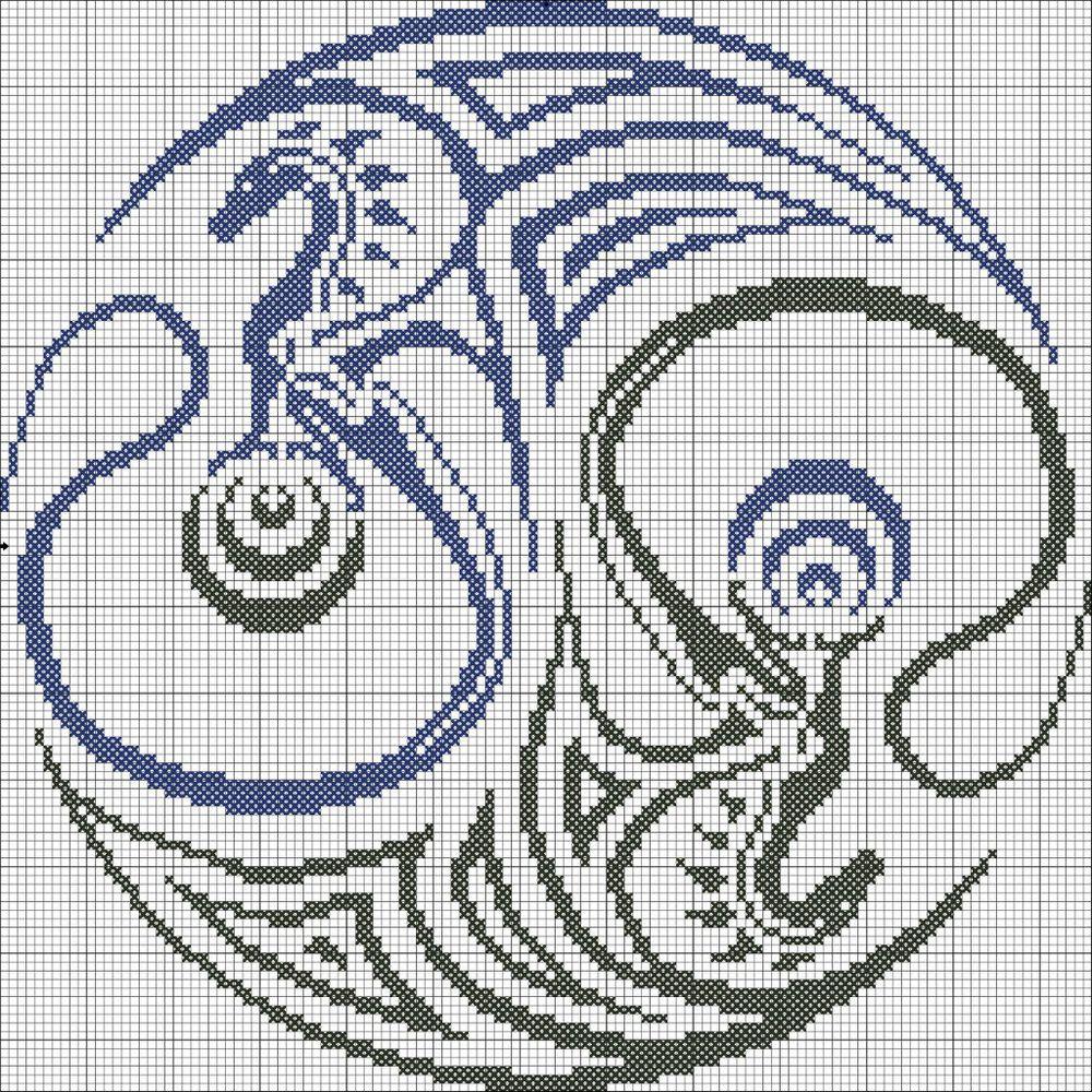 инь-янь схема вышивки крестом