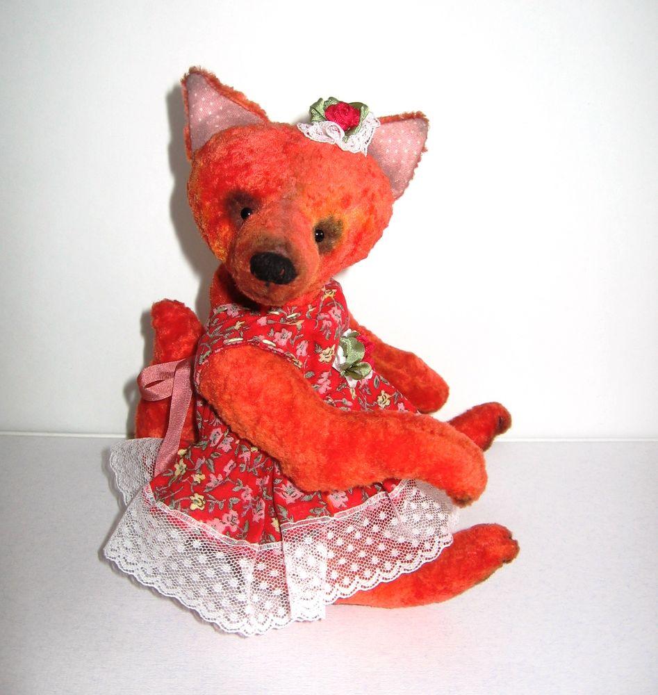 лисичка, мишка тедди, рыжая, антикварный плюш, сделано с любовью