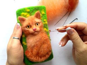 """Как я делала чехол """"Рыжий Кот"""" для телефона. Ярмарка Мастеров - ручная работа, handmade."""