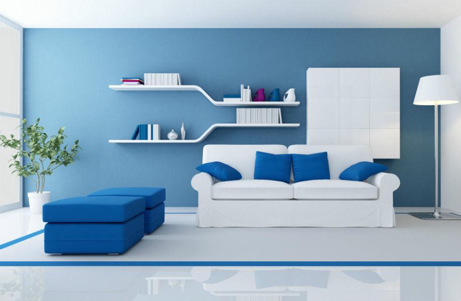 синий цвет в интерьере, синий цвет дизайн