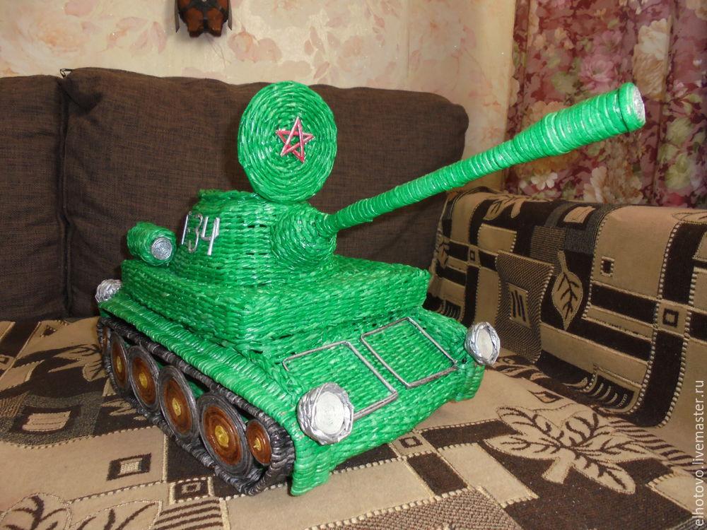 танк, подарок к 23, бумажная лоза, бумагоплетение