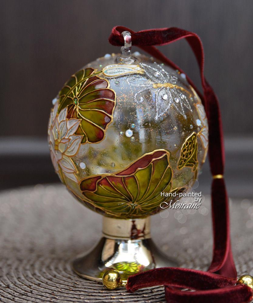 шар на ёлку, шар с росписью, стеклянный шар, новогодний подарок, ёлочные украшения
