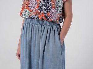 YOKU в деталях: юбка-колокол из шамбре цвета светлый деним. Ярмарка Мастеров - ручная работа, handmade.