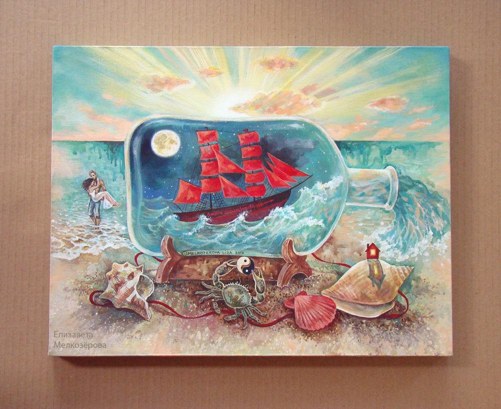 бирюзовый бежевый белый, корабль в бутылке, картина для дома