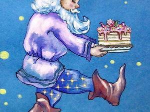 ГРАФИКА, Ночной тортик, формат А4, художник А. Шуберт. Ярмарка Мастеров - ручная работа, handmade.