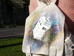 """Украшаем школьный рюкзак без навыков рисования, по мотивам сериала """"Doctor Who"""". Ярмарка Мастеров - ручная работа, handmade."""