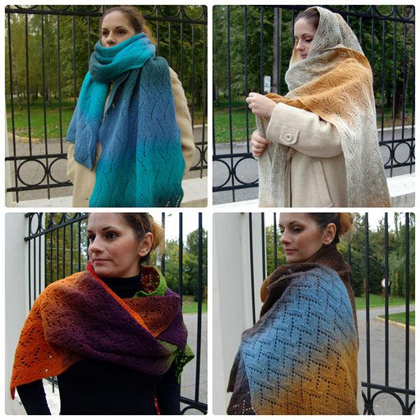 шарф вязаный, кауни