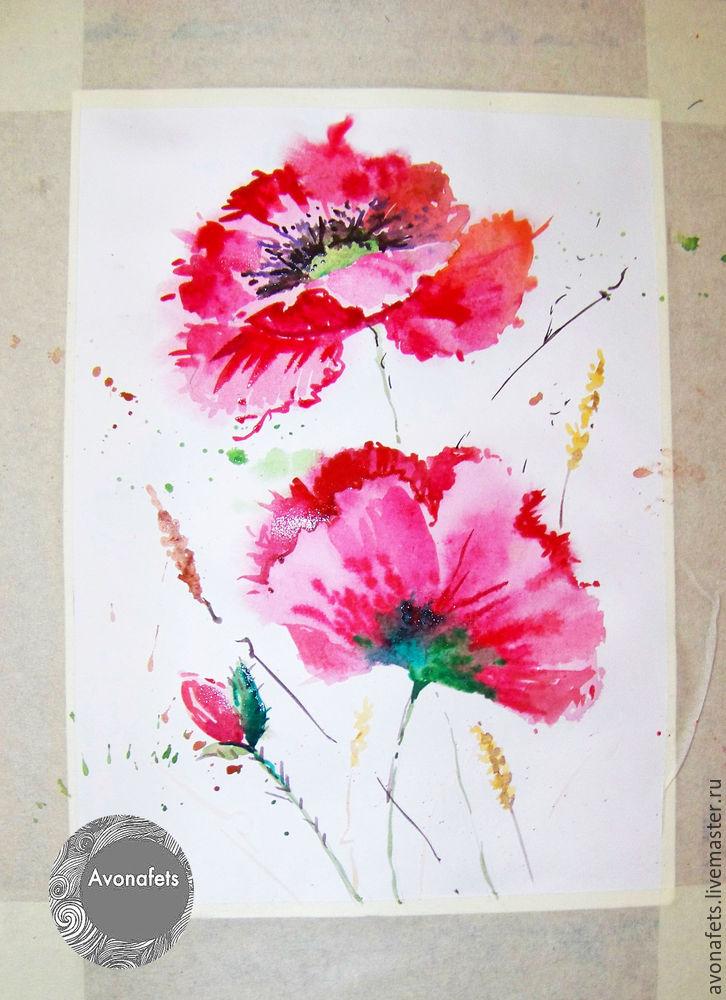 """Мастер-класс: рисуем акварелью """"Маки"""" - Ярмарка Мастеров - ручная работа, handmade"""