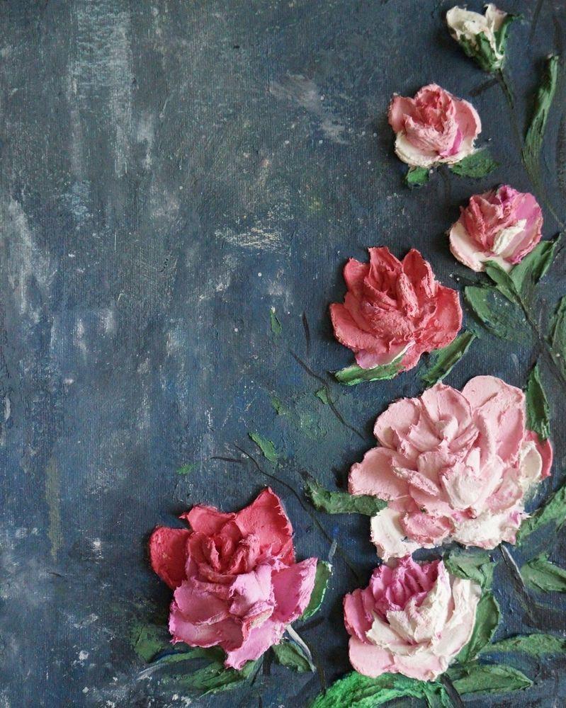 скульптурная живопись, декоративное панно, панно, картина, цветы