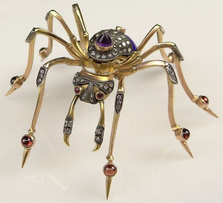 Fabulous Large Antique Style Russian 15 Karat Yellow Gold, Enamel, Diamond, Garnet and Amethyst Spider Brooch.
