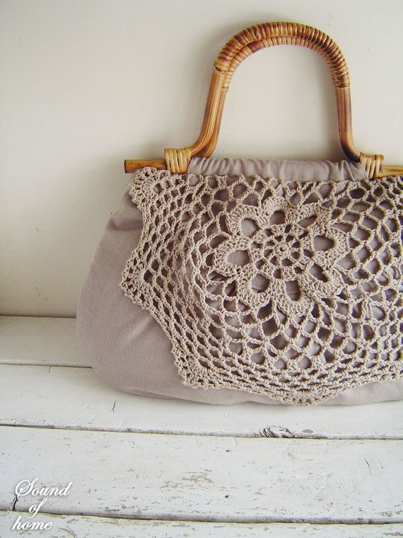 Linen crochet doily lace wood bag mori girl shabby chic handmade zakka. $48.00, via Etsy.