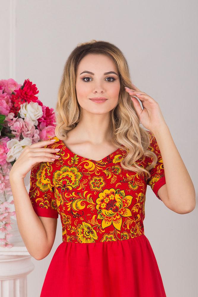 льняное платье, хохлома