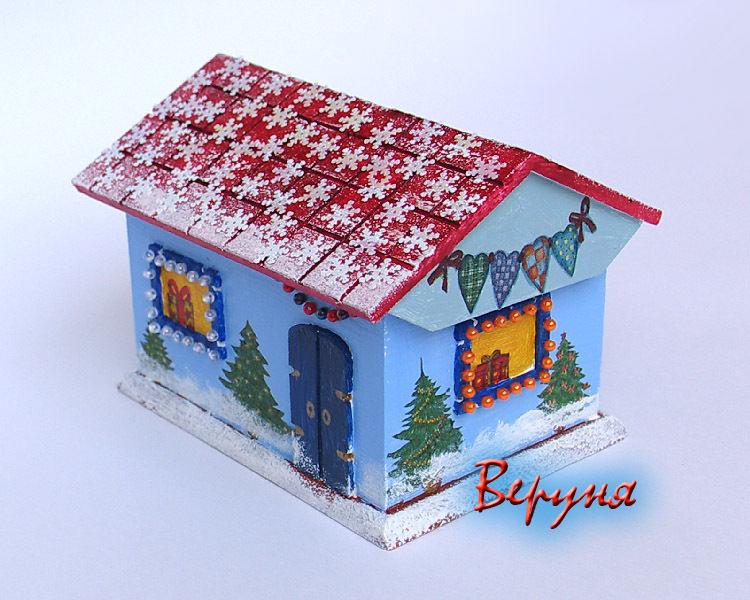 новогодний сувенир, домик, шкатулка, творчество с детьми, подарок бабушке, подарок подруге, подарок на новый год, украшение интерьера, новогодний декор