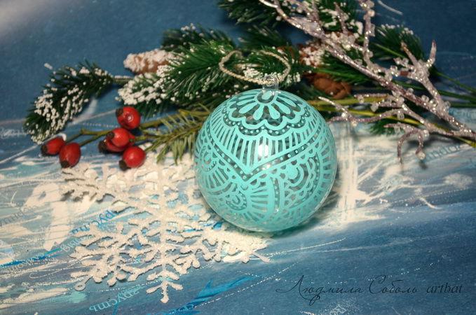 роспись, роспись по дереву, новогодние шары