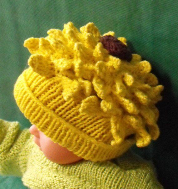 Instant Digital File PDF Download Baby Sunflower by madmonkeyknits, $3.95