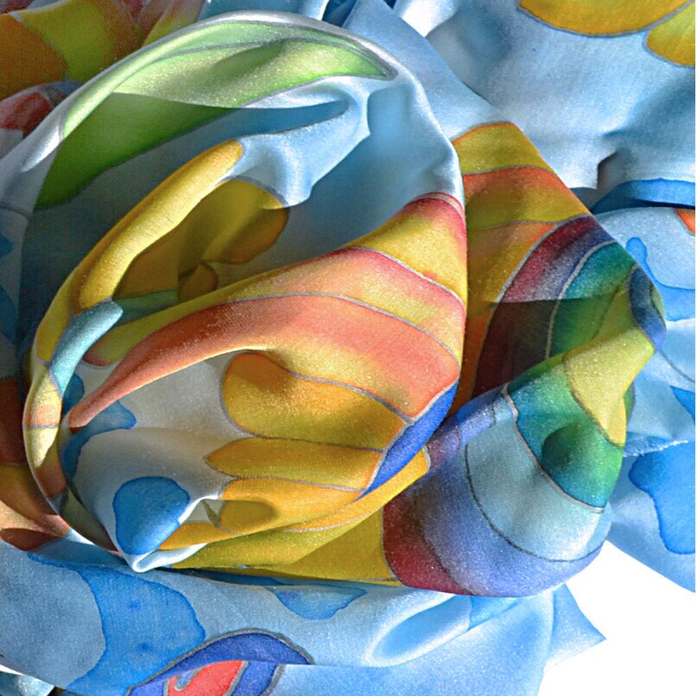 акция, шелковый шарф, живописные радости, акция на батик