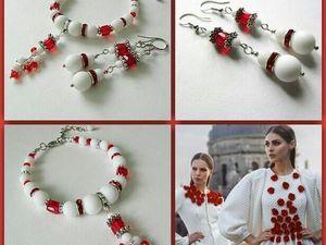 Анонс! Браслет и серьги Капельки красного от Olga Gardenia. Ярмарка Мастеров - ручная работа, handmade.