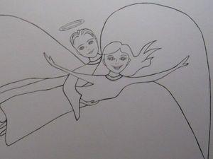 Картина Полёт с Ангелом - хранителем.. Ярмарка Мастеров - ручная работа, handmade.