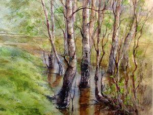 Рисуем весенний пейзаж акварелью. Ярмарка Мастеров - ручная работа, handmade.