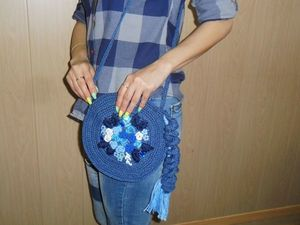 Летняя вязаная сумка с вышивкой. Ярмарка Мастеров - ручная работа, handmade.