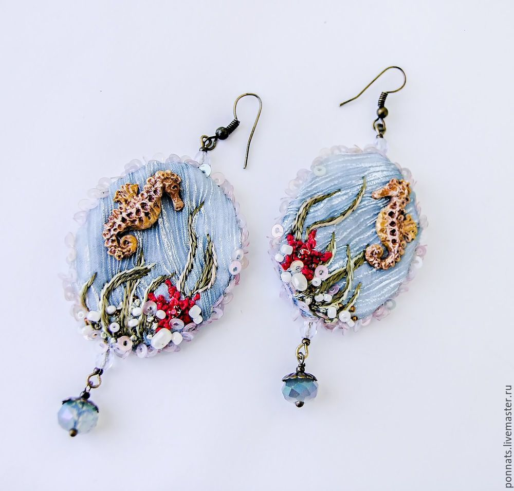 Modeling Textile Earrings with Embroidery, фото № 25