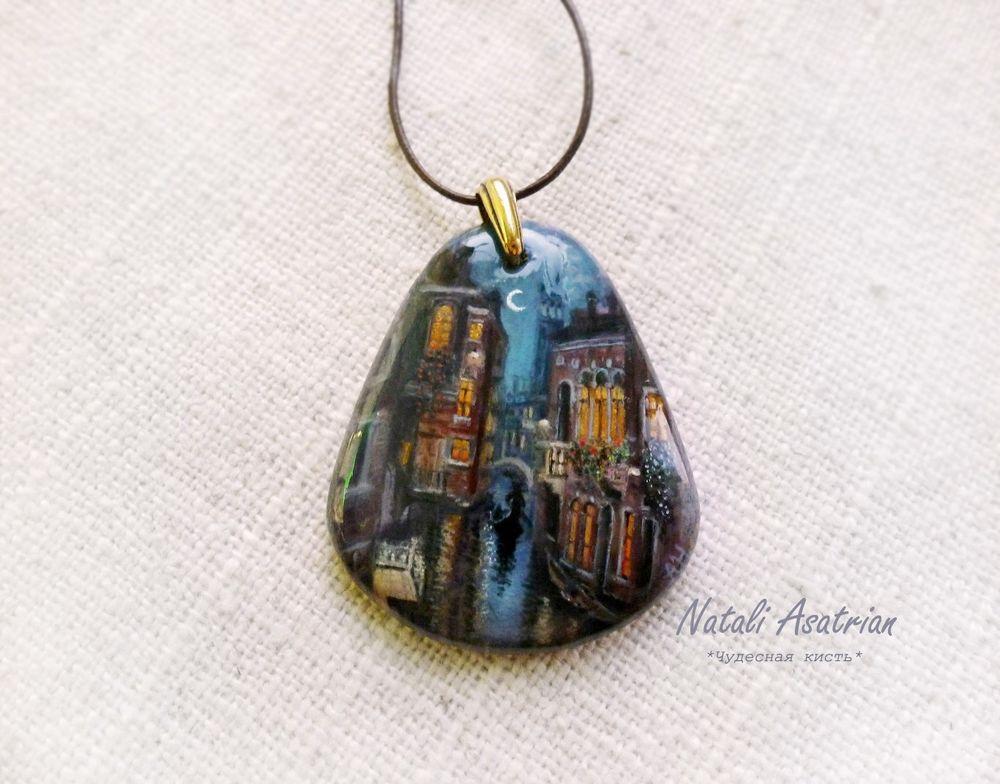 кулон, роспись на камне, живопись на камне, украшение на шею, купить кулон, новость магазина