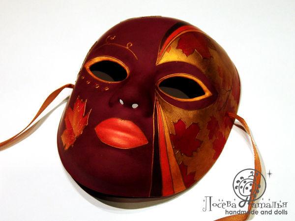 Декорирование интерьерной маски «Леди Осень» с элементами декупажа и вживления распечатки на поталь | Ярмарка Мастеров - ручная работа, handmade