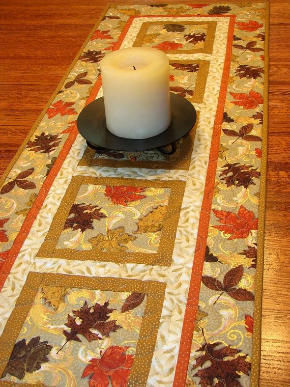 Autumn Quilted Table Runner Elegant Fall Leaves and by susiquilts