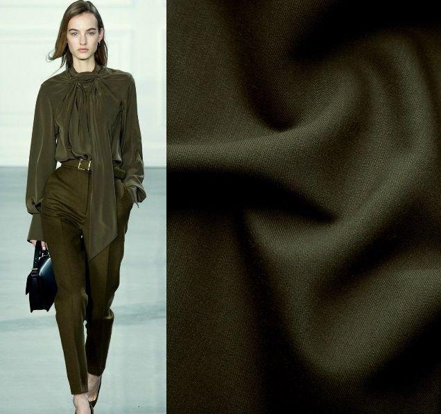 оливковый цвет, атлас-стретч, брюки из шерсти, ткани для одежды