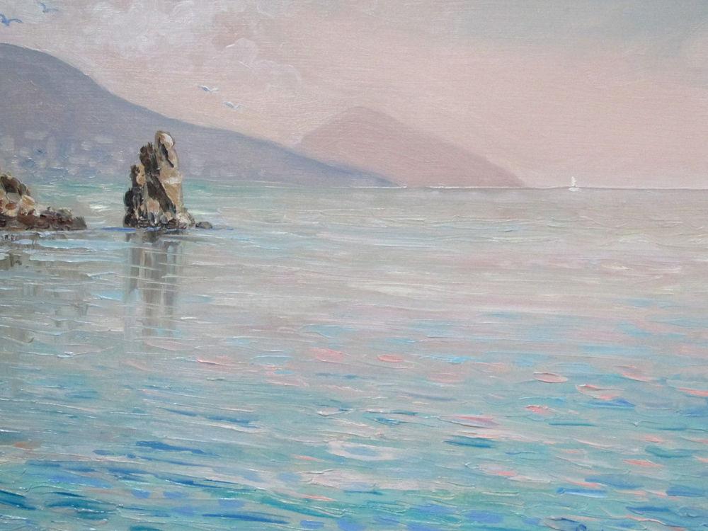 живопись маслом, морской пейзаж, картина маслом, картина для интерьера, крым, море, горы, вода, картина в интерьер, голубой цвет, красивая картина купить, авторская живопись, ярмарка мастеров, пленэр, морская тема
