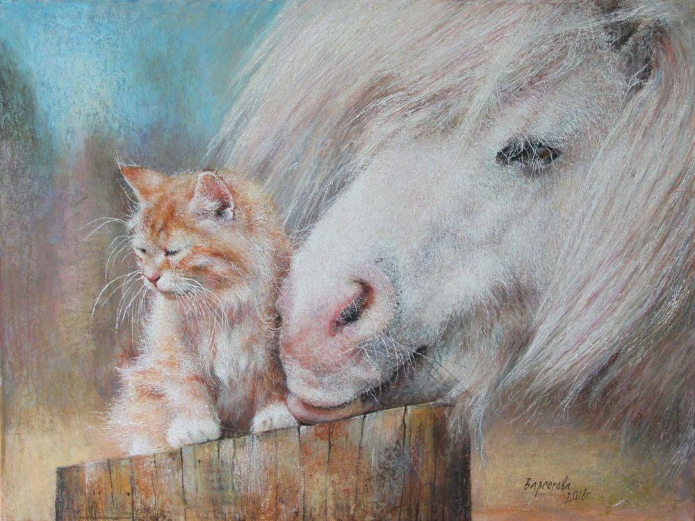 новинки магазина, новая работа, картина пастелью, добрые картины, нежность, дружба, рыжий кот, котенок ищет дом, белая лошадь