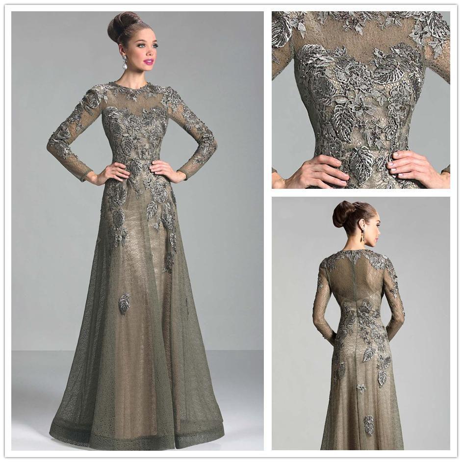 Длинное кружевное платье с длинным рукавом