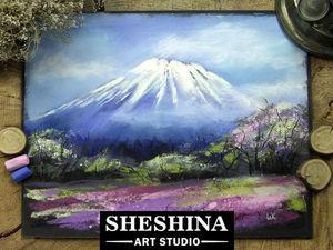 Видеоурок: рисуем гору Фудзи и цветущую сакуру сухой пастелью. Ярмарка Мастеров - ручная работа, handmade.