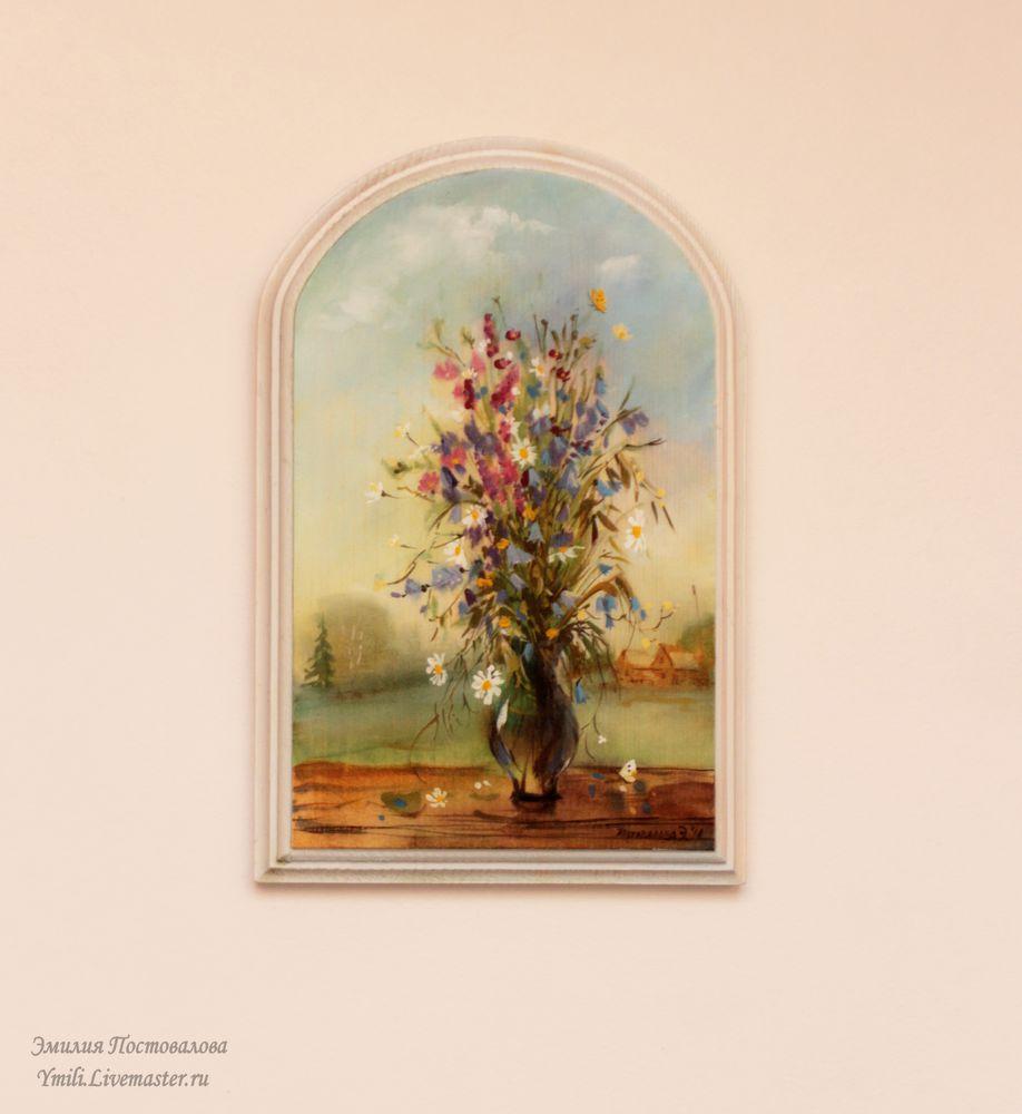 панно на дереве, картина с цветами