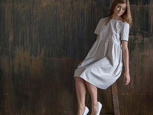 YOKU в деталях: платье с завышенной талией из хлопка кофе с молоком. Ярмарка Мастеров - ручная работа, handmade.