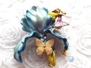 Видео.Брошь Фея Ириса,Kirks Folly,США,голубой ирис. Ярмарка Мастеров - ручная работа, handmade.