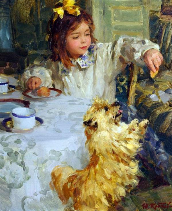 Сюжеты с детьми и животными на солнечных картинах Юрия Кротова