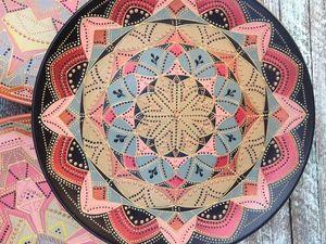 Роспись тарелки в технике Point-to-point | Ярмарка Мастеров - ручная работа, handmade