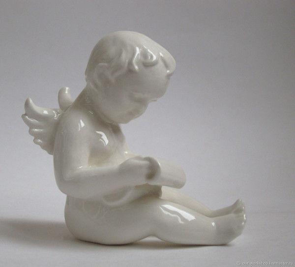 ангел, фигурка ангел, статуэтка ангел, амур, станковая скульптура, фарфор, керамика, керамическая флористика, декор для дома, для интерьера, подарок девушке