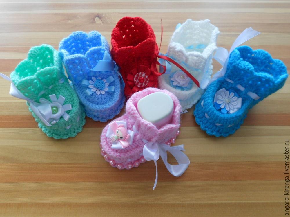 Вязанье для новорожденных пинетки крючком 865