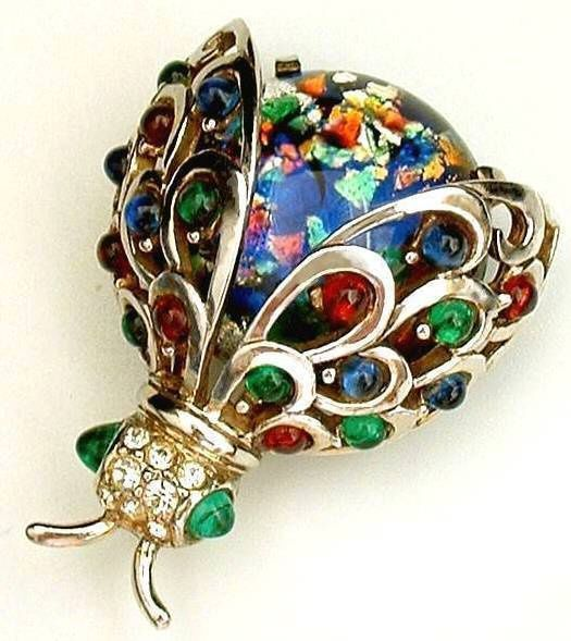 Vintage Marcel Boucher Brooch Sterling Bug Fire Opal Mosaic Glass c.1950s