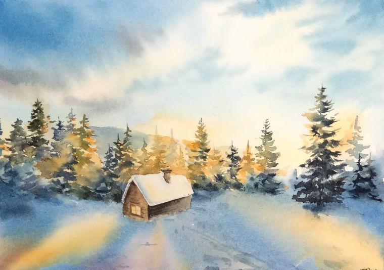 Рисуем акварелью  «Зимнюю сказку», фото № 1