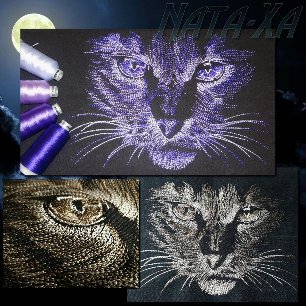 дизайн машинной вышивки, кошка