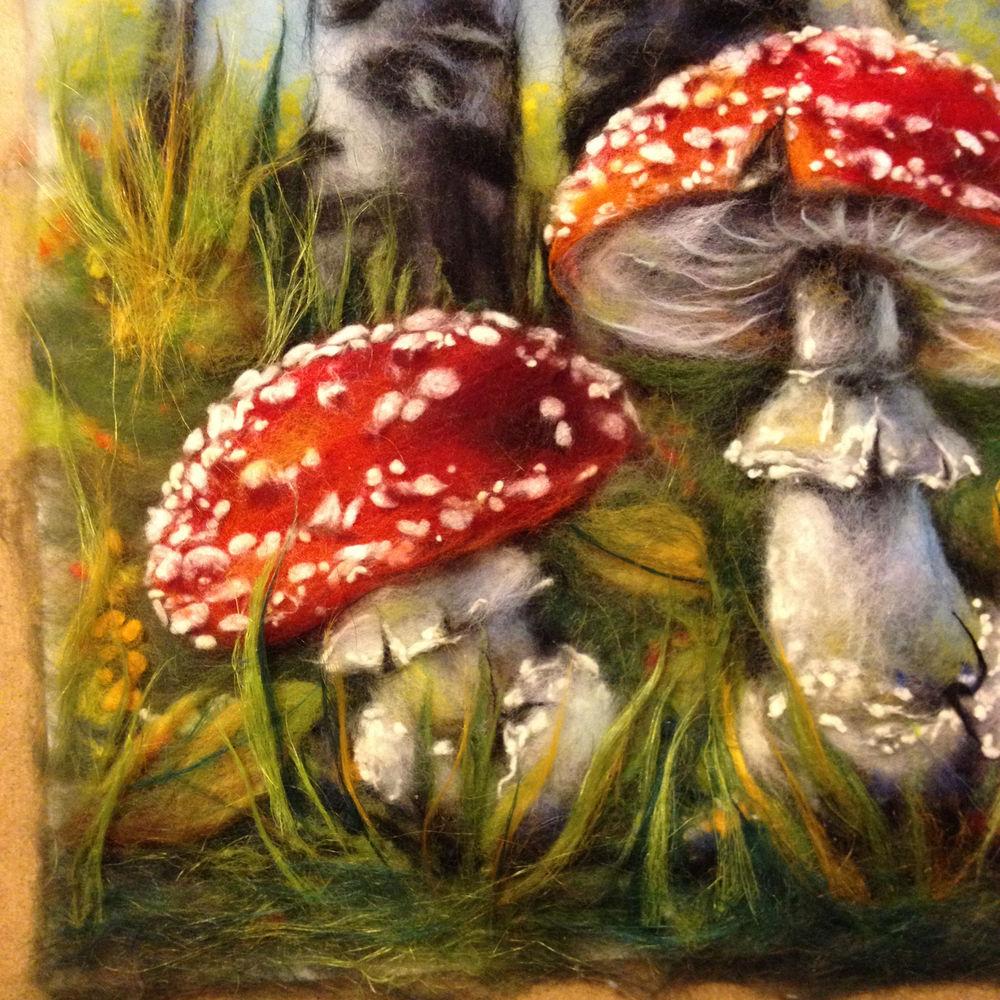 шерстяная живопись, мастер класс по живописи, сувениры и подарки, грибы