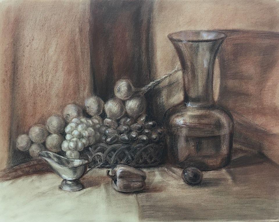 рисование для начинающих, рисунок углем, сангина