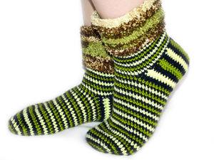Вяжем крючком сапоги-носки из остатков пряжи. Ярмарка Мастеров - ручная работа, handmade.