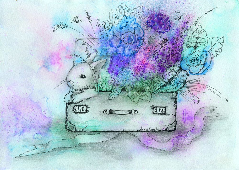 картины алёны коневой, цветы и птицы, букет, сказочные цветы, летние картины