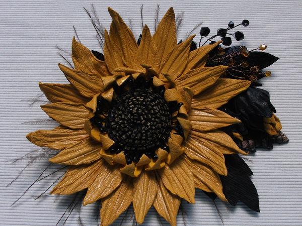 Сделаю на заказ брошь из кожи Яркий махровый цветок   Ярмарка Мастеров - ручная работа, handmade